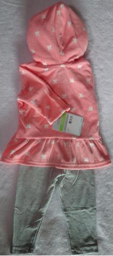 conjunto carter's - 2 peças - rosa e cinza - original