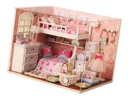conjunto casa de muñecas miniatura bricolaje con muebles