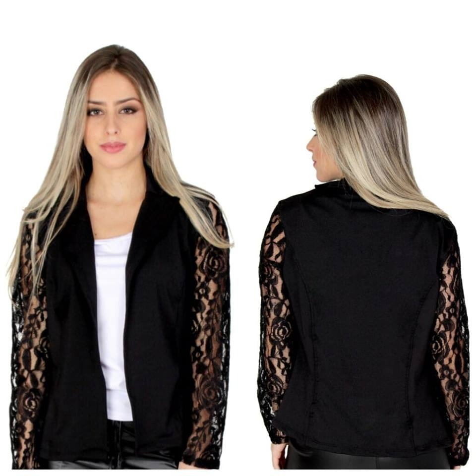 307f2f98ad conjunto casaco feminino manga renda guipir com calça. Carregando zoom.
