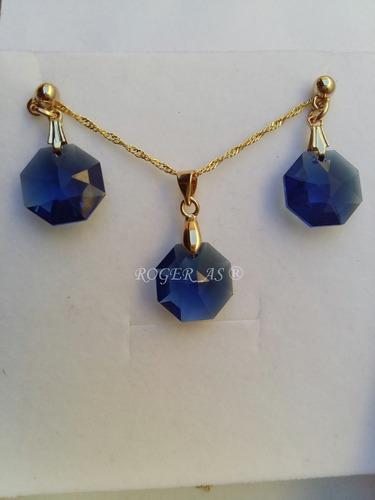 conjunto castanha cristal swarovski dark blue folh. ouro 18k