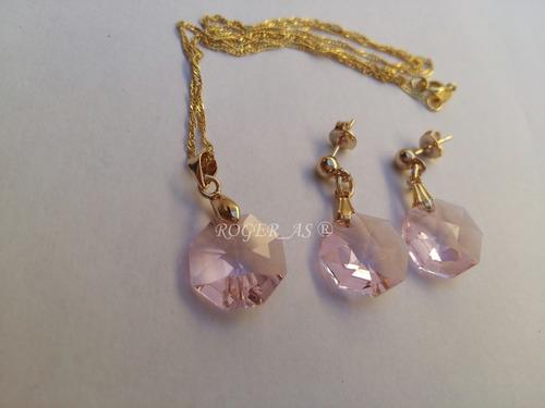 conjunto castanha cristal swarovski rosaline folh. ouro 18k