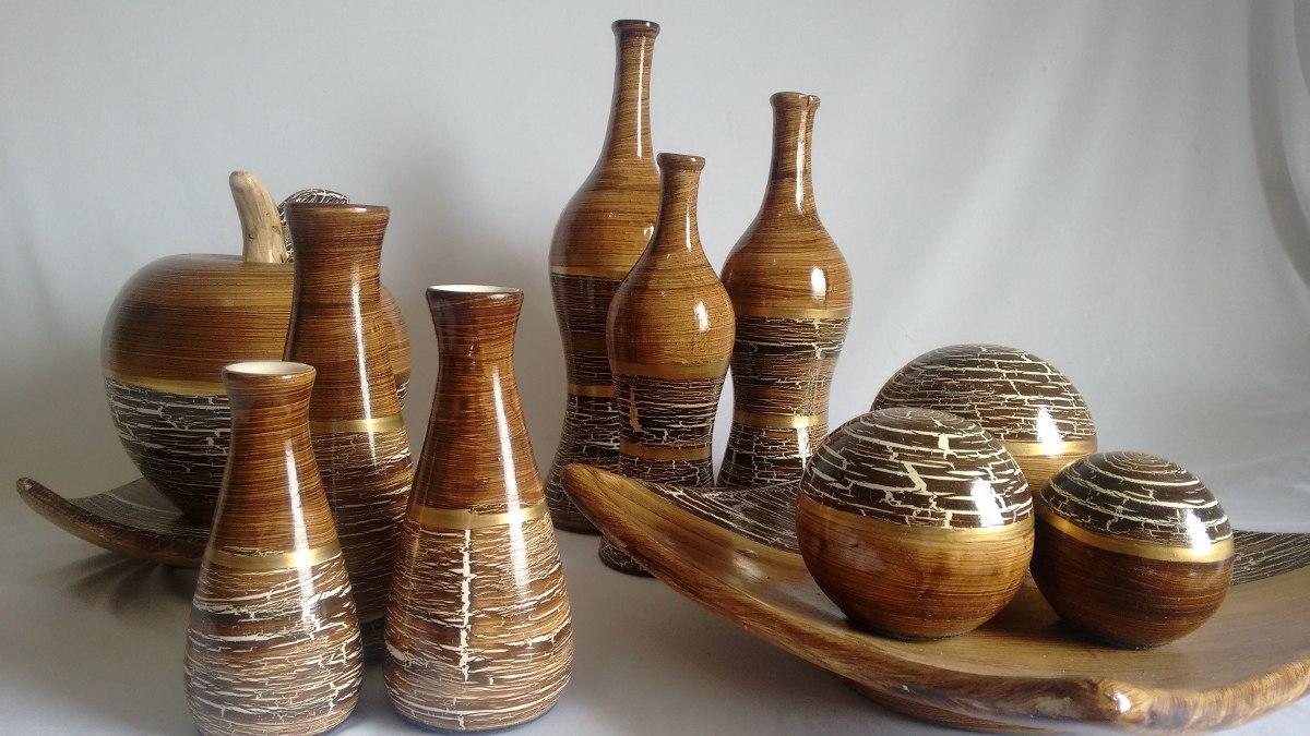 Conjunto Ceramica 4 Peças Decorativa E Vasos Decoraç u00e3o R$ 229,90 em Mercado Livre -> Peças Grandes De Xadrez Para Decoração
