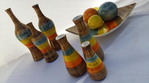conjunto cerâmica 3 kit decorativa combina papel de parede