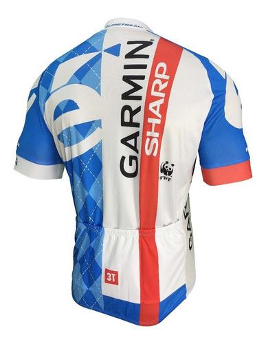 conjunto ciclismo barbedo garmin camisa e bermuda masculino