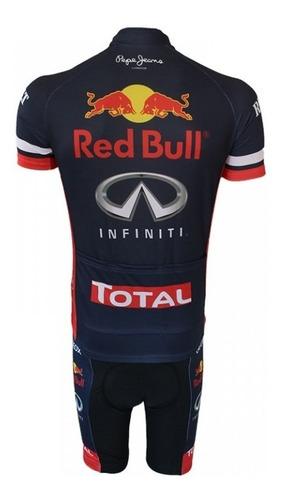 conjunto ciclismo mtb bermuda e camisa red bull + brinde