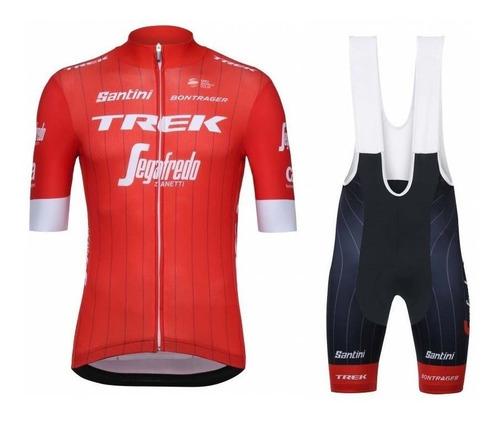 conjunto ciclismo trek segafredo tricota calza acolchad rojo