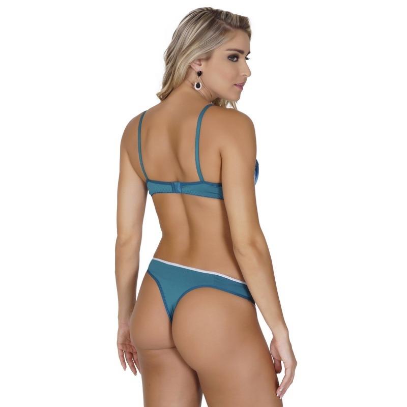 675b3e152 conjunto click chique lingerie em microfibra com cetim drape. Carregando  zoom.