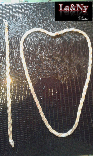conjunto colar 45 cm e pulseira 18 cm prata 925 3 fios