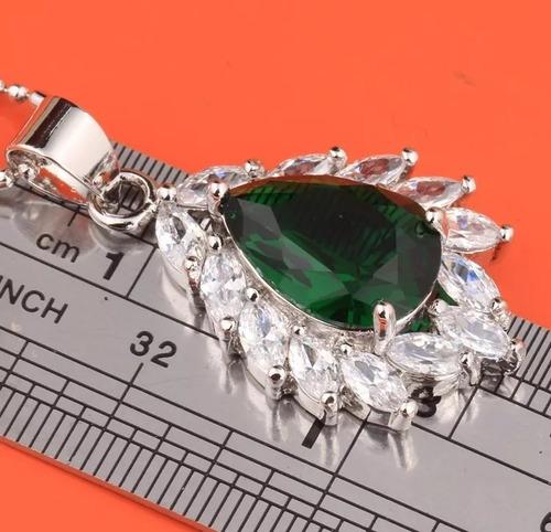 conjunto colar brinco anel prata 925 topázio aro 20 21 22