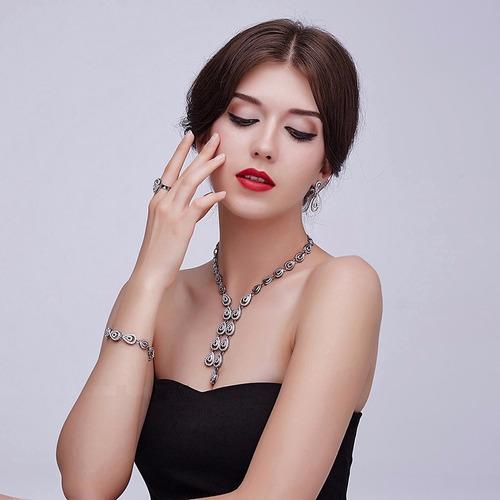 conjunto colar brinco anel pulseira feminino gota água c38