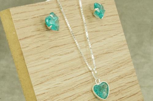 conjunto colar brinco coração pedra fusion agua marina prata