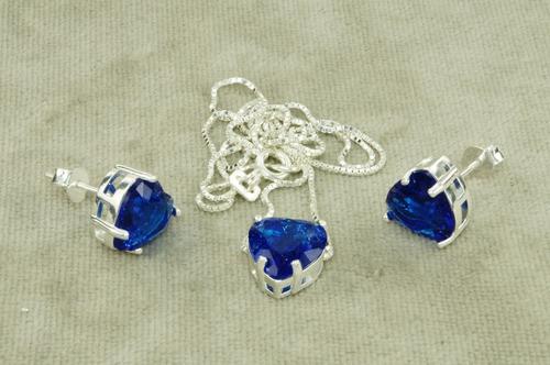 conjunto colar brinco coração pedra fusion azul prata 925