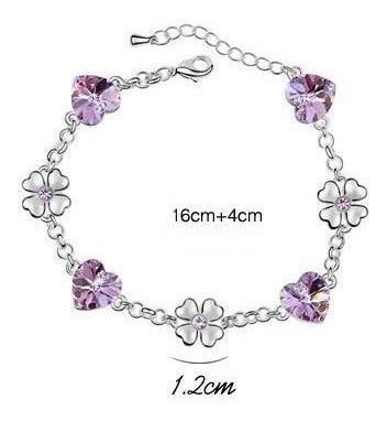 conjunto colar, brinco e pulseira coracões com cristais sw