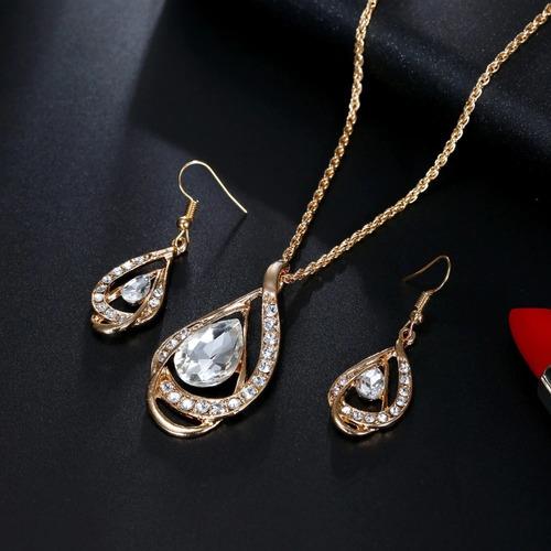 conjunto colar + brinco feminino folheado a ouro 18k c09