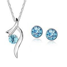 conjunto colar + brinco feminino stones blue