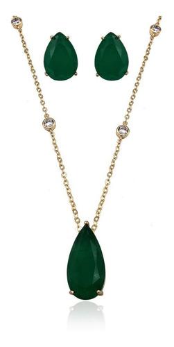 conjunto colar brinco gota verde fusion dourado andreza mota