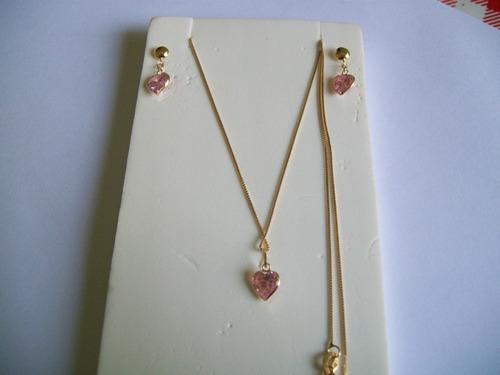 conjunto colar + brinco + pingente de coração ouro 18k
