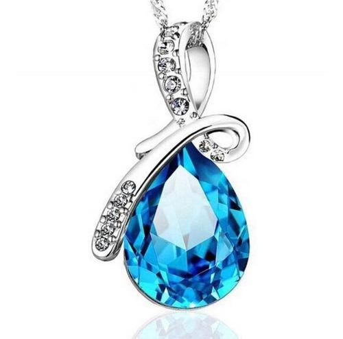 conjunto colar brinco pulseira feminino  azul  swarovski
