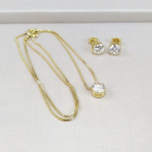 conjunto colar brinco zircônia ponto de luz banhado a ouro
