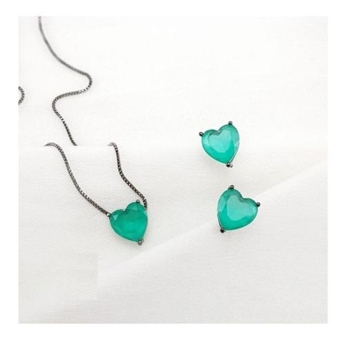 conjunto colar brincos coração verde banhado a ródio negro