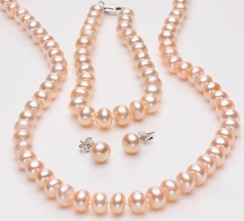 conjunto colar, brincos e pulseira com pérola verdadeira m01