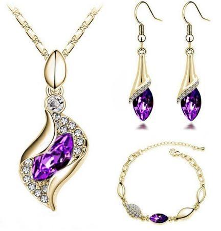 conjunto colar + brincos + pulseira semi-jóia banhado