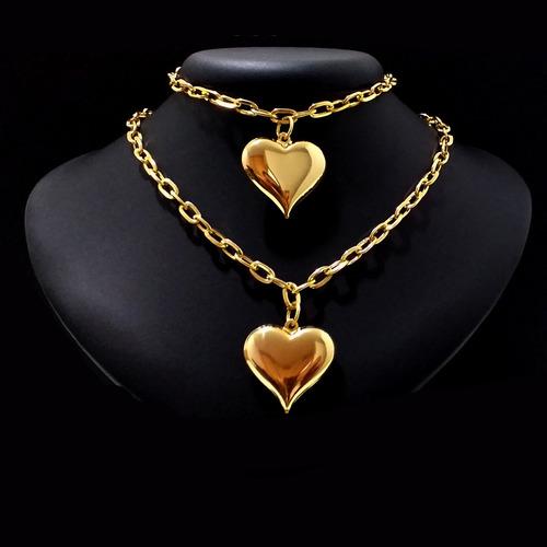 conjunto colar choker elo quadrado pulseira coração folheado