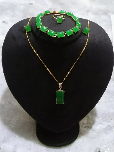 conjunto  colar e brinco anel pulseira pedra jade natural
