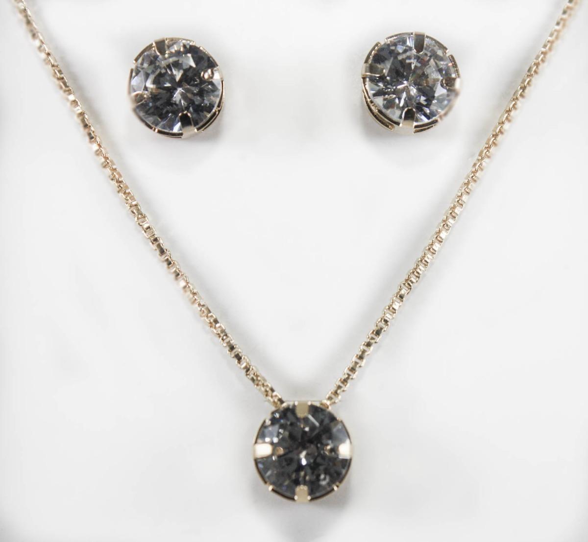 8072862c37508 Conjunto Colar E Brinco Folheado Ouro Pedra Zircônia Cristal - R  64 ...