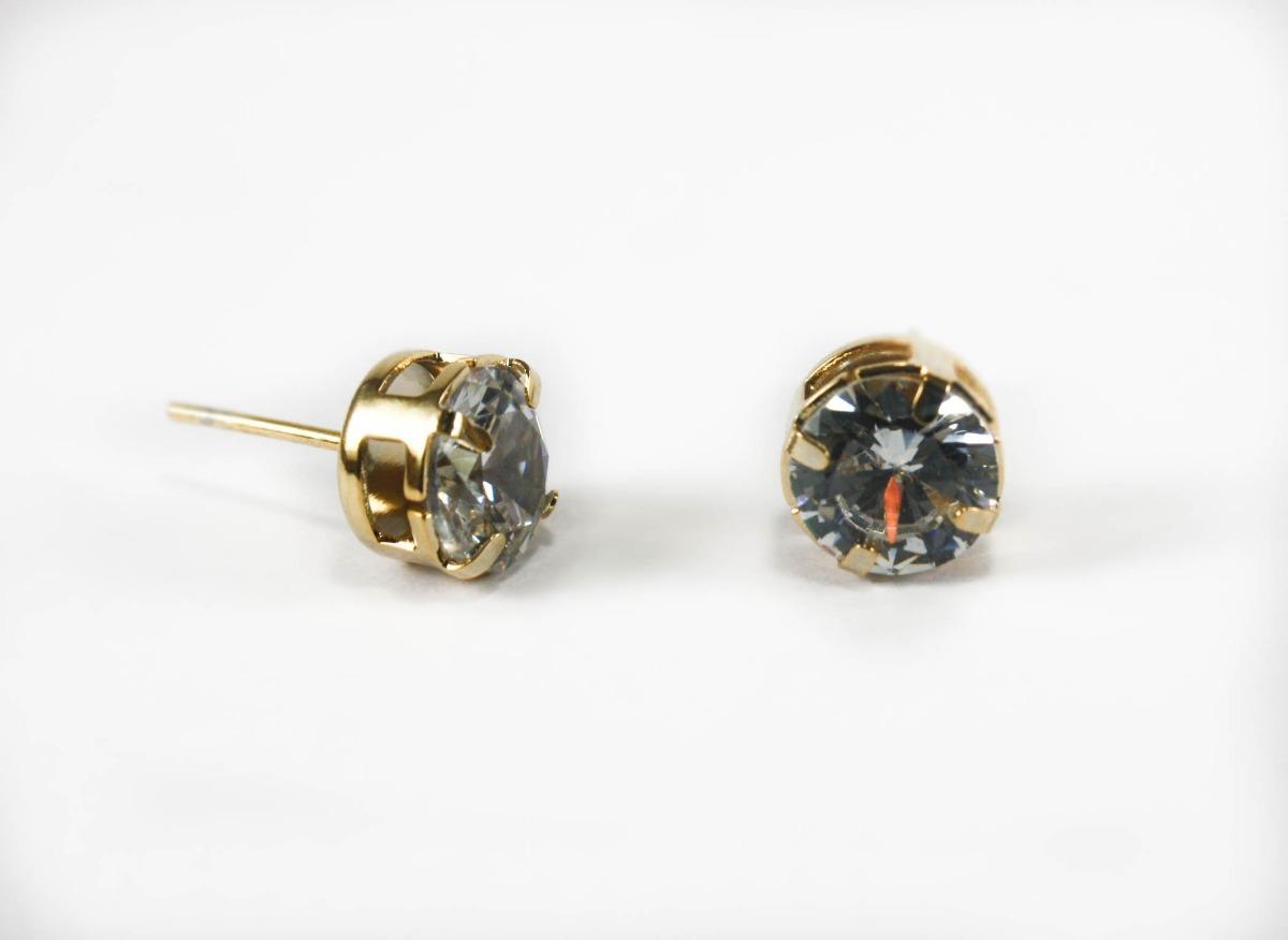 f8db7dc6a7fad Conjunto Colar E Brinco Folheado Ouro Pedra Zircônia Cristal - R  64,90 em  Mercado Livre