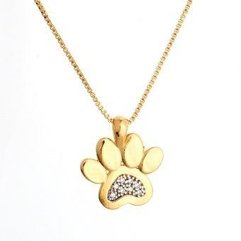 conjunto colar e brinco patinha pet zirconia banhado ouro