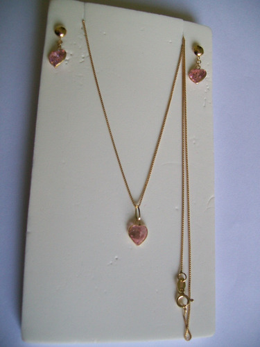 conjunto colar e par de brincos coração em zircônia ouro 18k