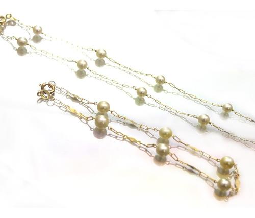 conjunto colar e pulseira de pérola em ouro 18k - d251