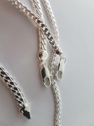 conjunto colar e pulseira masculina corrente b. prata 925