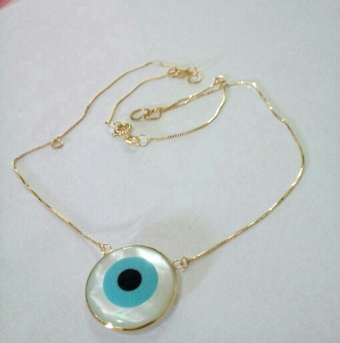 4fdfb4fa2188f Conjunto Colar E Pulseira Olho Grego Ouro 18k - R  750