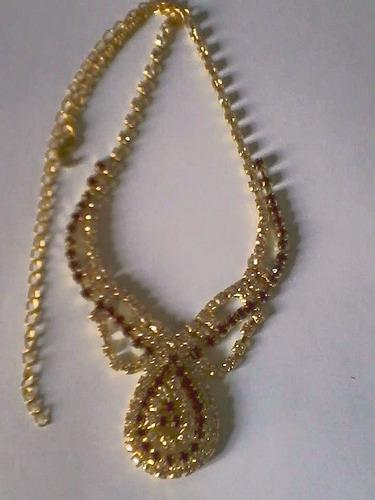 conjunto colar feminino brinco, pulseira anel strass festa