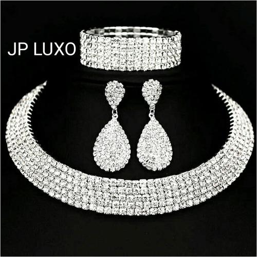 conjunto colar feminino + brincos cristal miss clássico