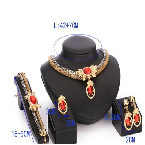 conjunto colar feminino + pulseira + brinco + anel folheado