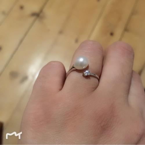 conjunto colar prata pérola brincos longos e anel ajustável