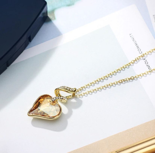 conjunto colar pulseira coração zircônia dourado
