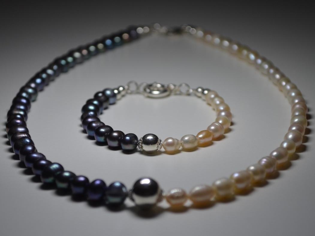 6531014d58df conjunto collar pulsera perlas cultivadas bicolor plata 925. Cargando zoom.