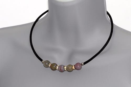 conjunto collar, pulsera y aretes piedra jaspe café ccpn626