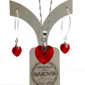 10ec9c91825b Conjunto Collar Y Aros De Plata Cristal De Swarovski Rojo