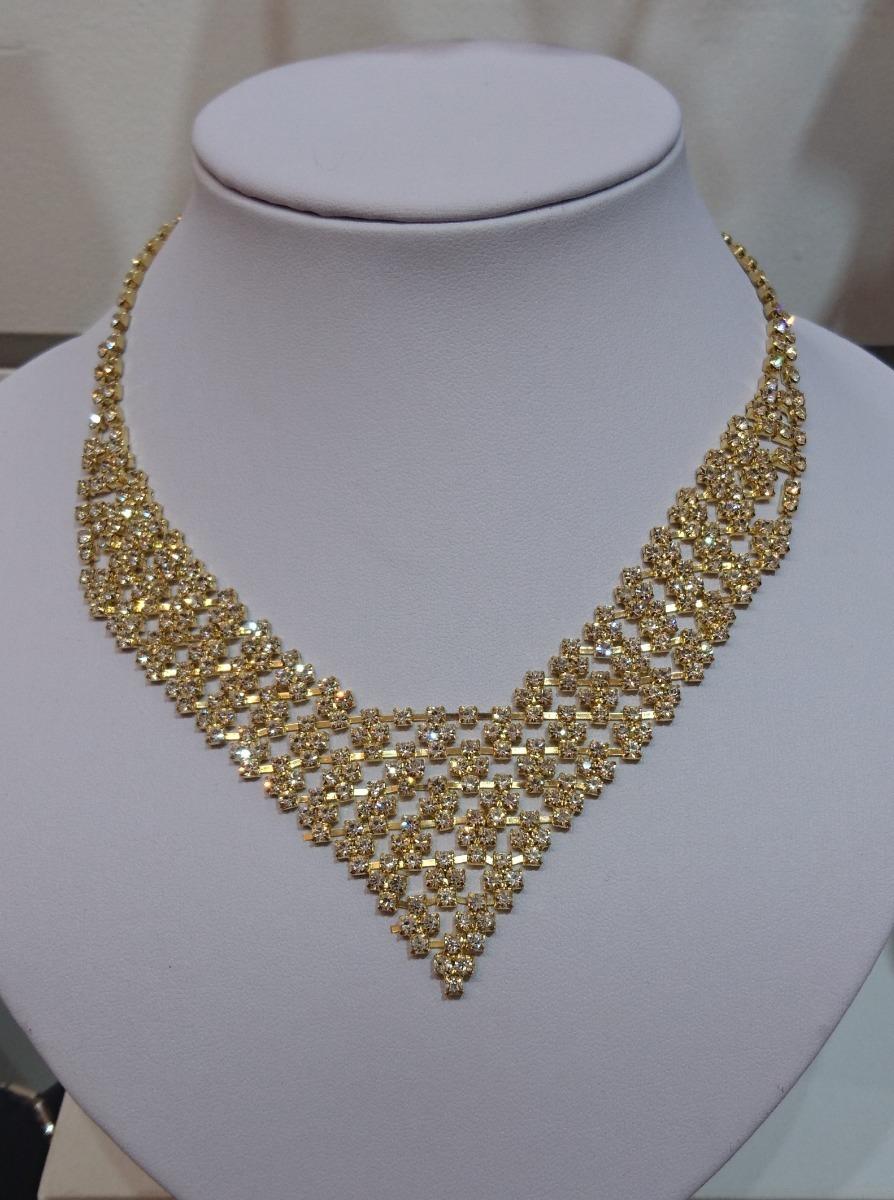 cc329632a615 Conjunto Collar Y Aros D strass Dorado P fiesta -   640