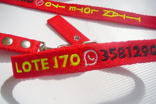 conjunto collar y correa bordado personalizado cinta 3 cm.