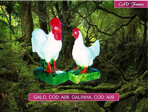 conjunto com 1 galo, 1 galinha e 6 pintinhos.