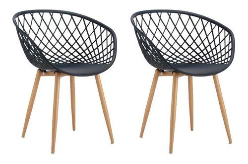 conjunto com 2 cadeiras sidera preto