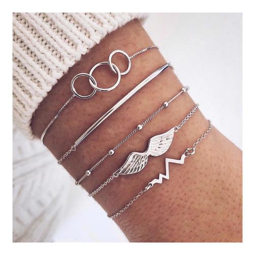 conjunto com 5 pulseiras boho chic hippie life pandora