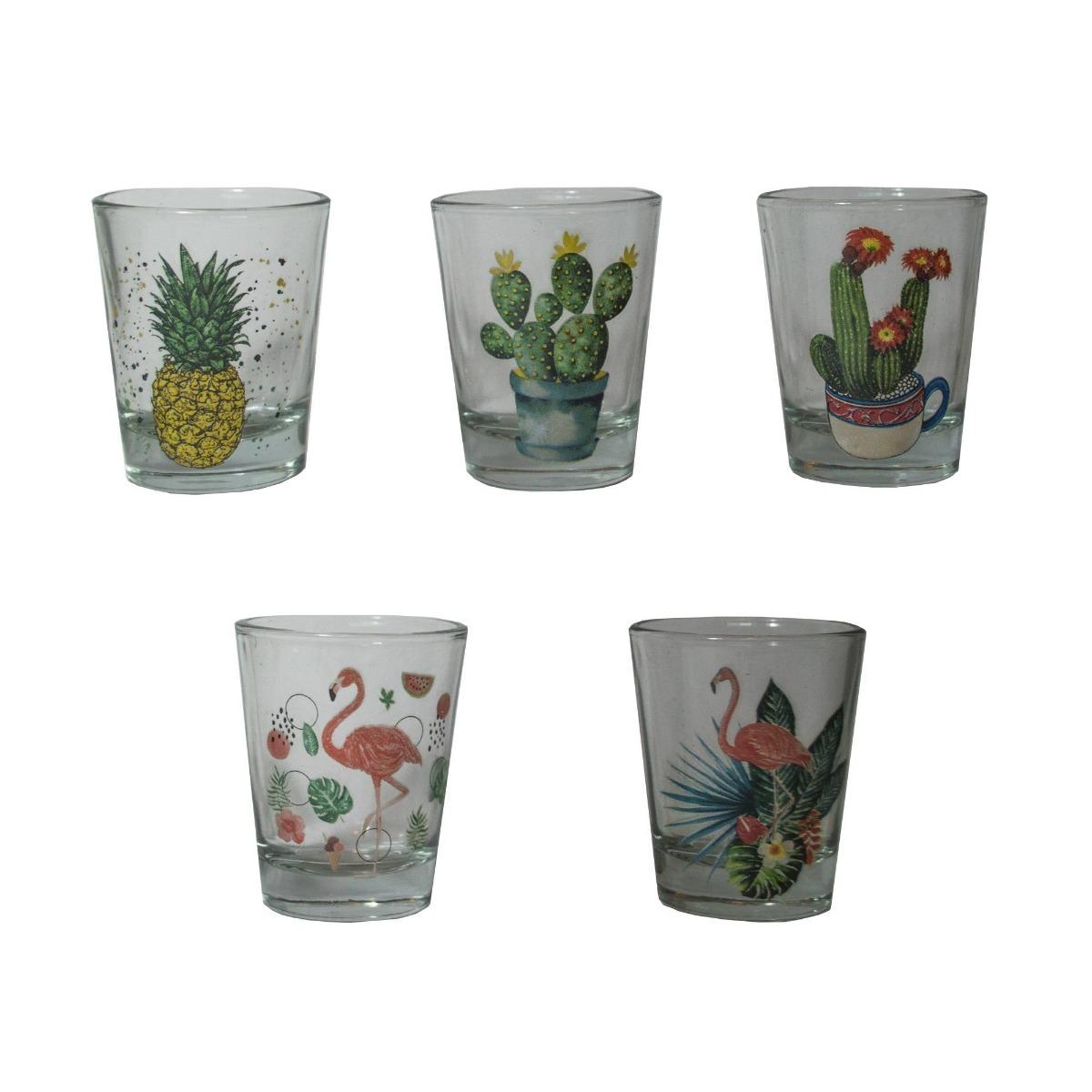 conjunto copos para shot flamingo abacaxi cactus drink bebid r 85