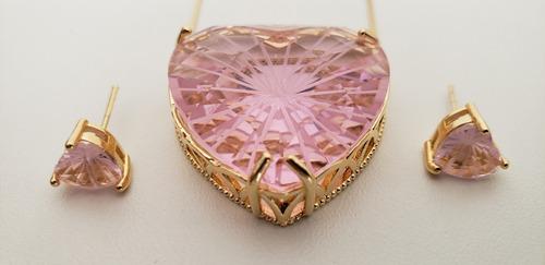 conjunto coração colar e brinco - pedra cristal